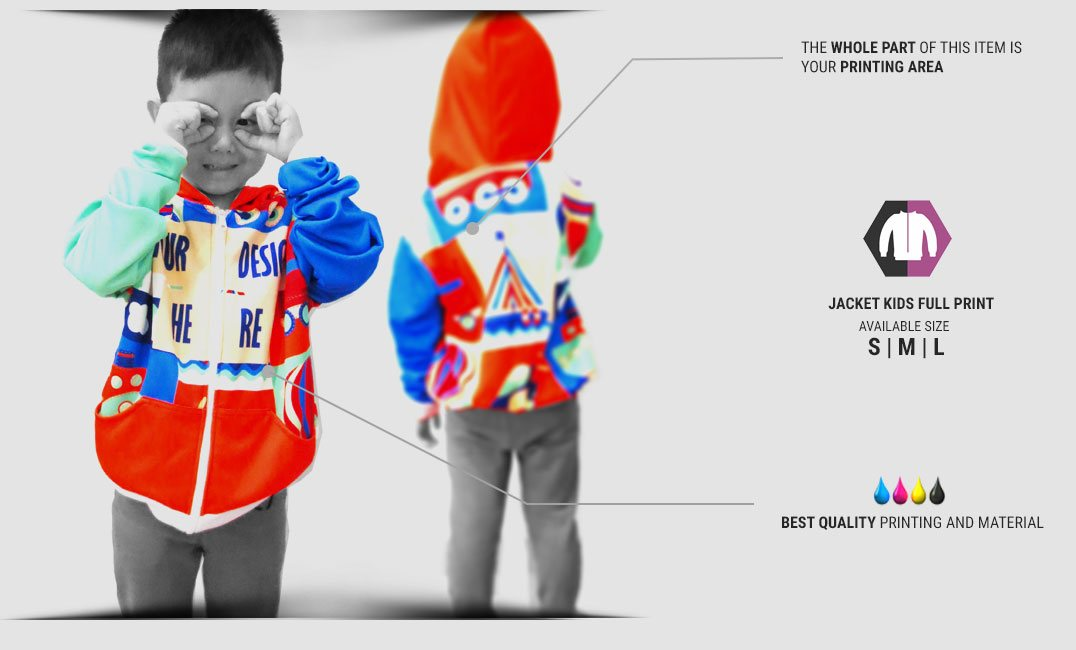 kids zipper fullprint specification