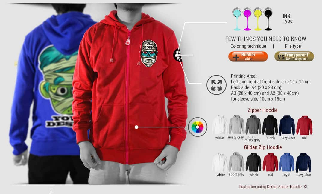 zipper hoodie specification