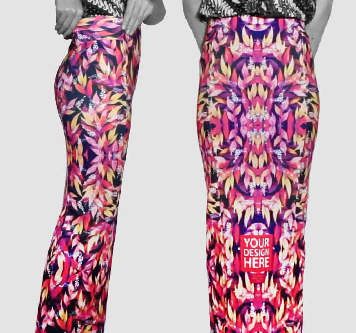 fullprint  Long Span Skirt with Sided Waist Band 2